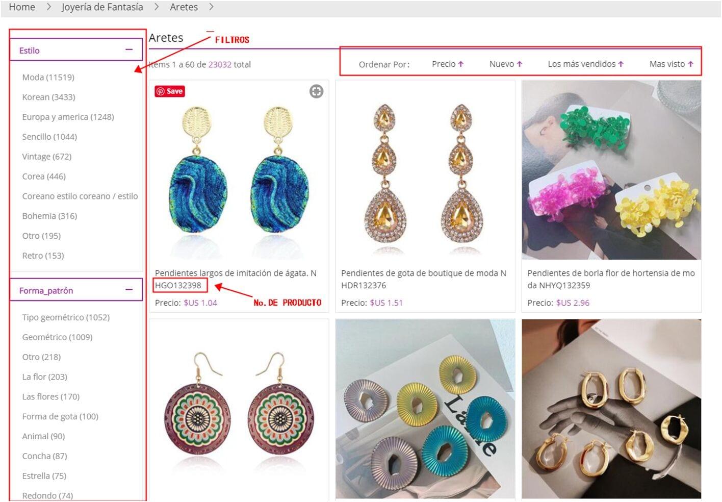 Página del producto