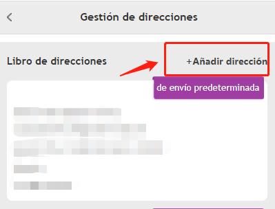 """haga clic en """"Añadir dirección"""""""