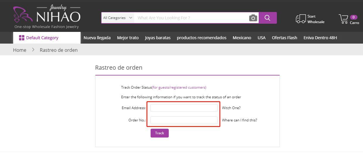 página de seguimiento de pedidos en la computadora
