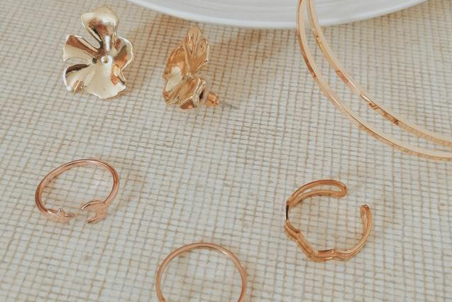 gold-plated earrings and rings