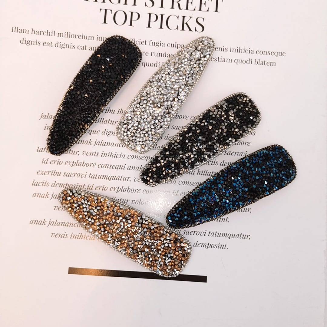 Fashion High-grade Rhinestone Super Flash Oval Tip Clip