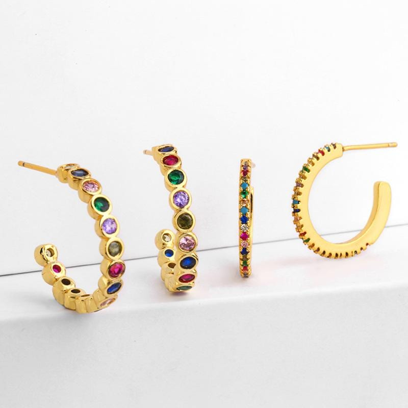 Vintage Color Zircon C-Shaped Crystal Earrings