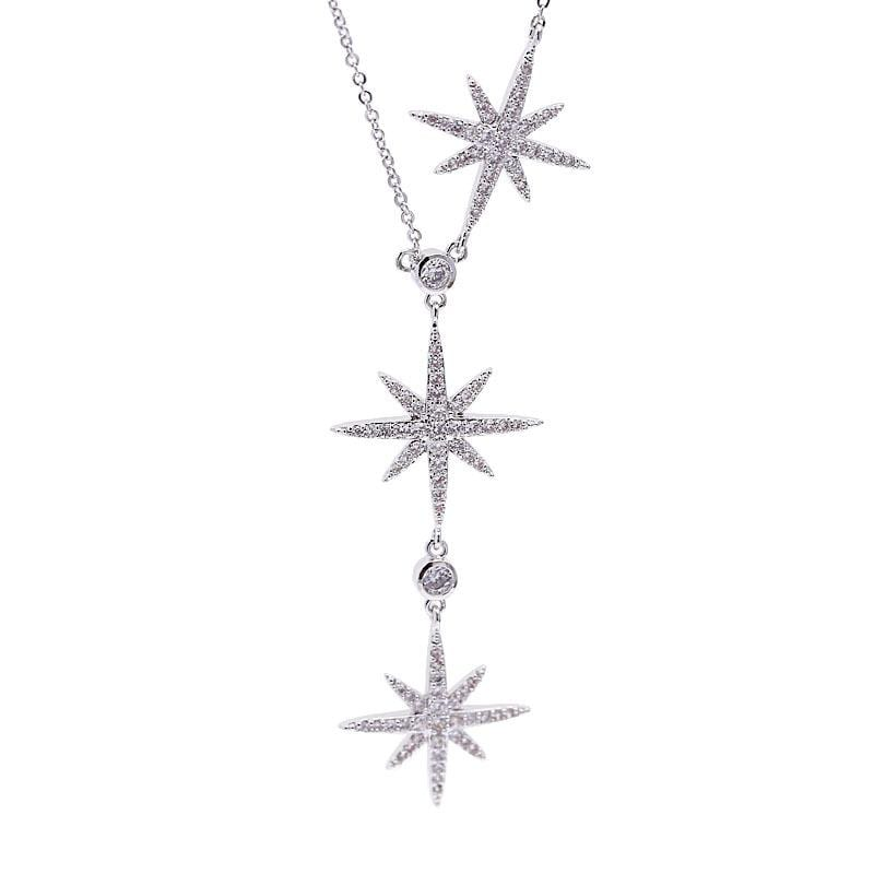 Fashion Micro-Inlaid Zircon Three Eight-Pointed Star Necklace