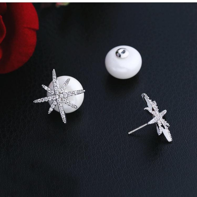 Fashion Micro-Inlaid Zircon Star Pearl Earrings