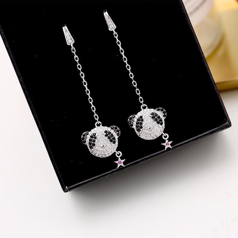 Fashion Micro-Inlaid Zircon Panda Earrings
