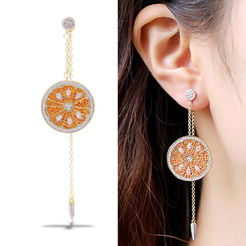 Womens Fashion Micro-Inlaid Zircon Orange Earrings