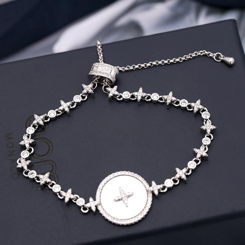 Fashion Micro-Inlaid Zircon Star Mother-of-Pearl Bracelet