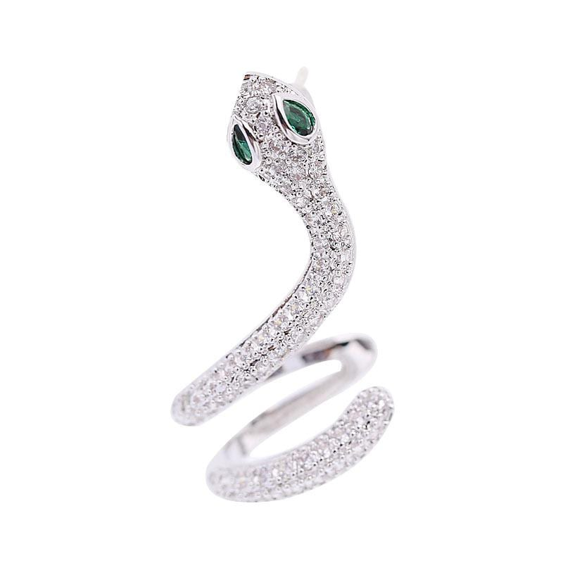Fashion Snake-Shaped Golden Snake Micro-Set Zircon Earrings