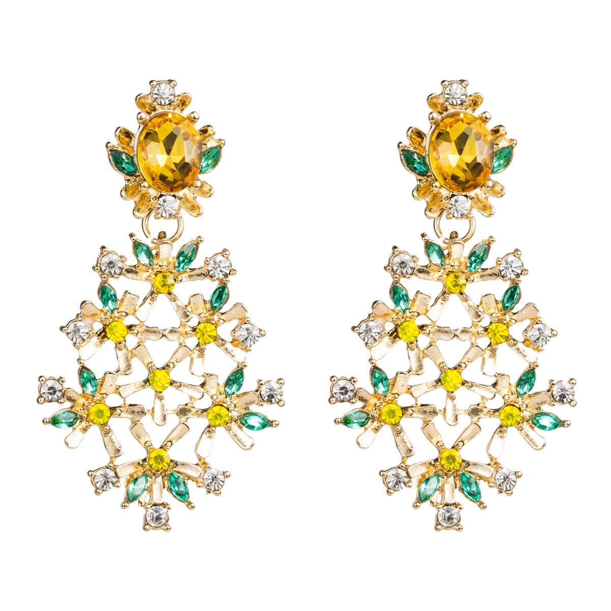 Fashion multi-layer acrylic diamond flower alloy earrings