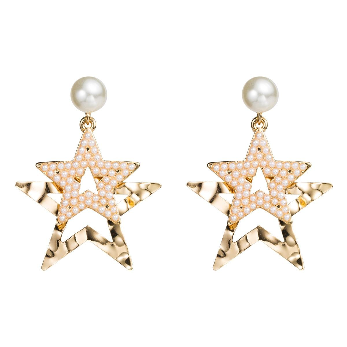 Fashion exaggerated multi-layer alloy five-pointed star with pearl earrings