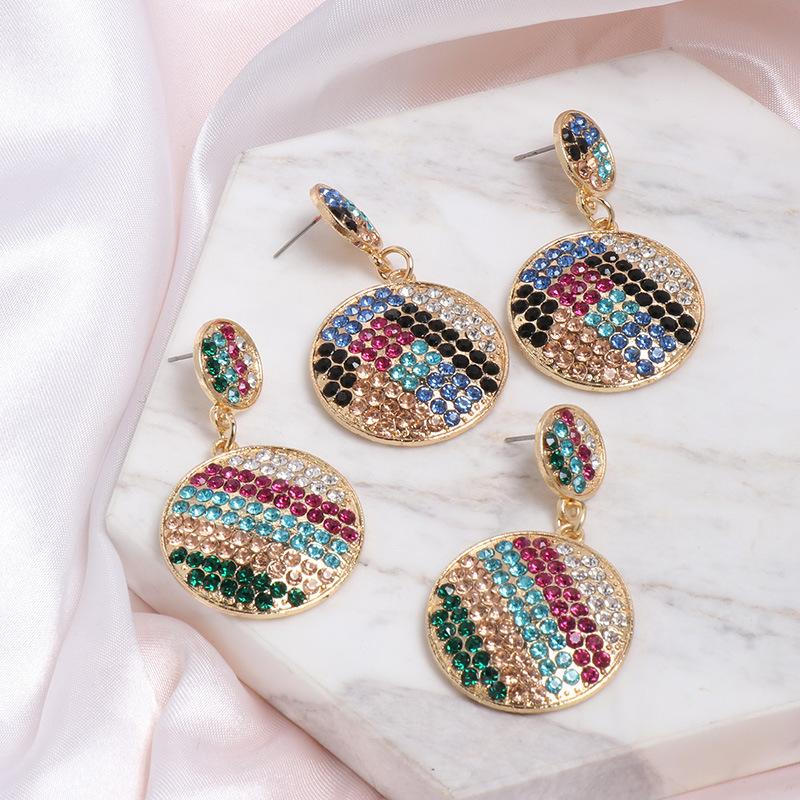Geometric Colored diamond Alloy Earrings