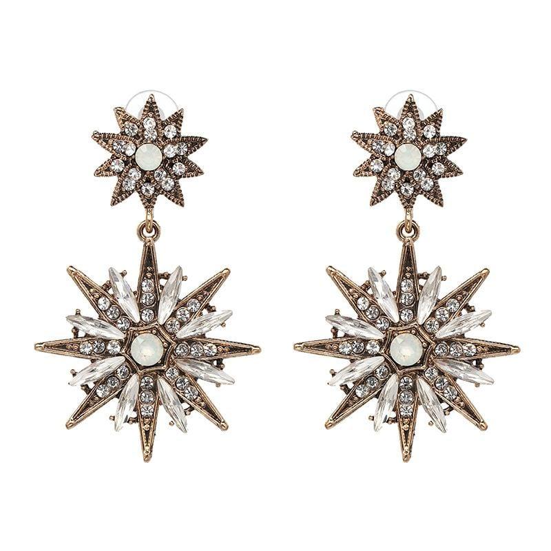 Vintage Classic Metal-Studded Rhinestone Stud Earrings