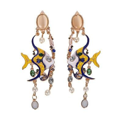 Zodiac Fish with Pearl Alloy Pearl Earrings