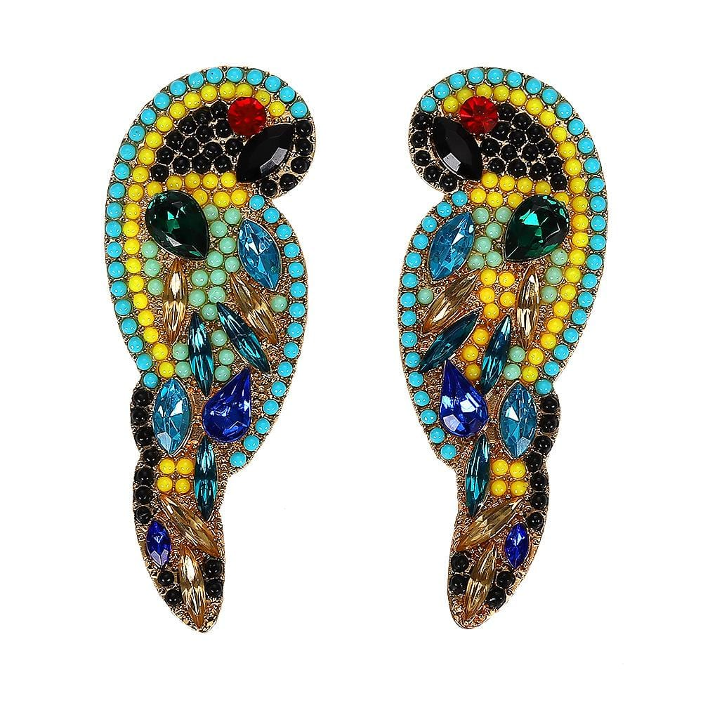 Zodiac Parrot Alloy Rhinestone Earrings