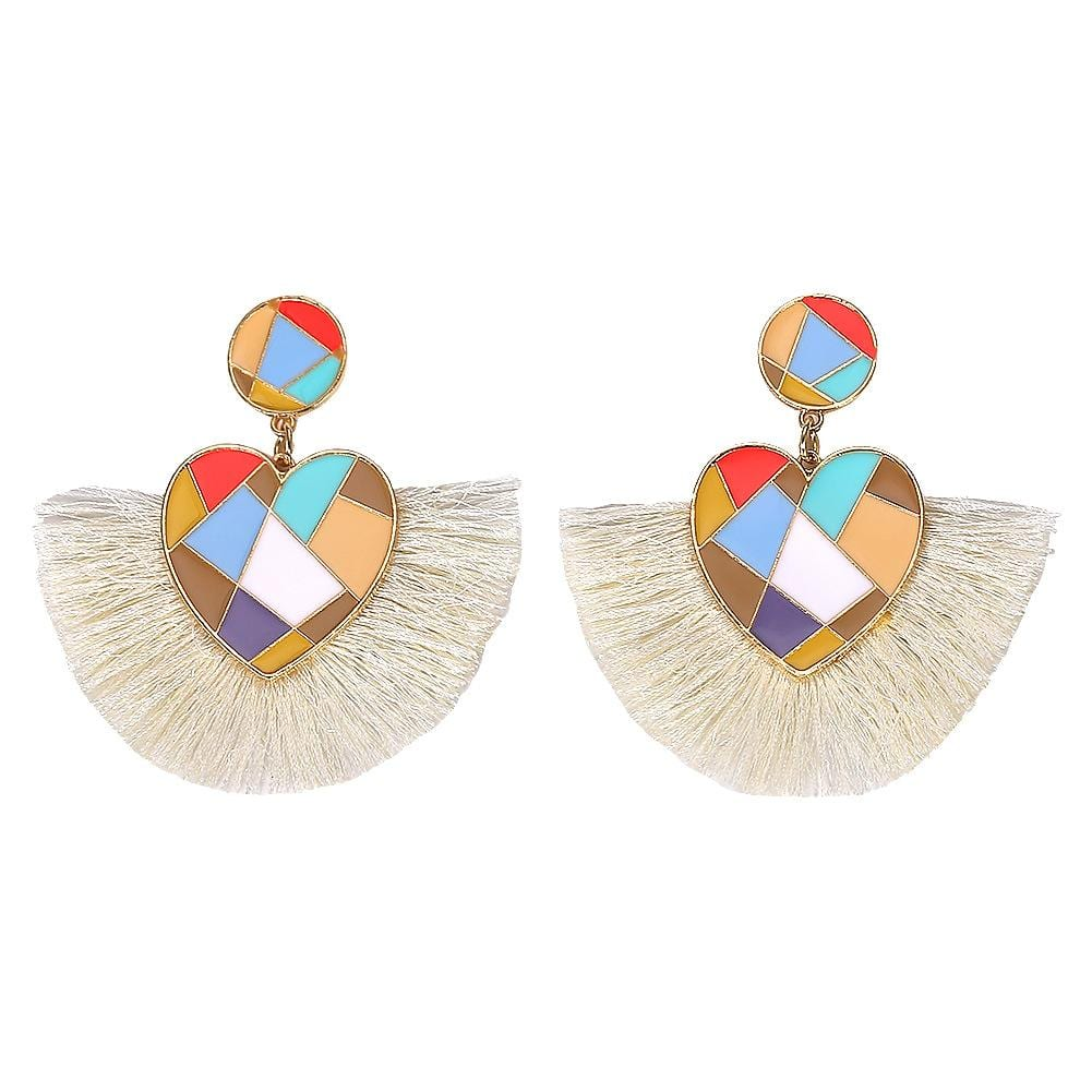 Colored alloy love line tassel earrings