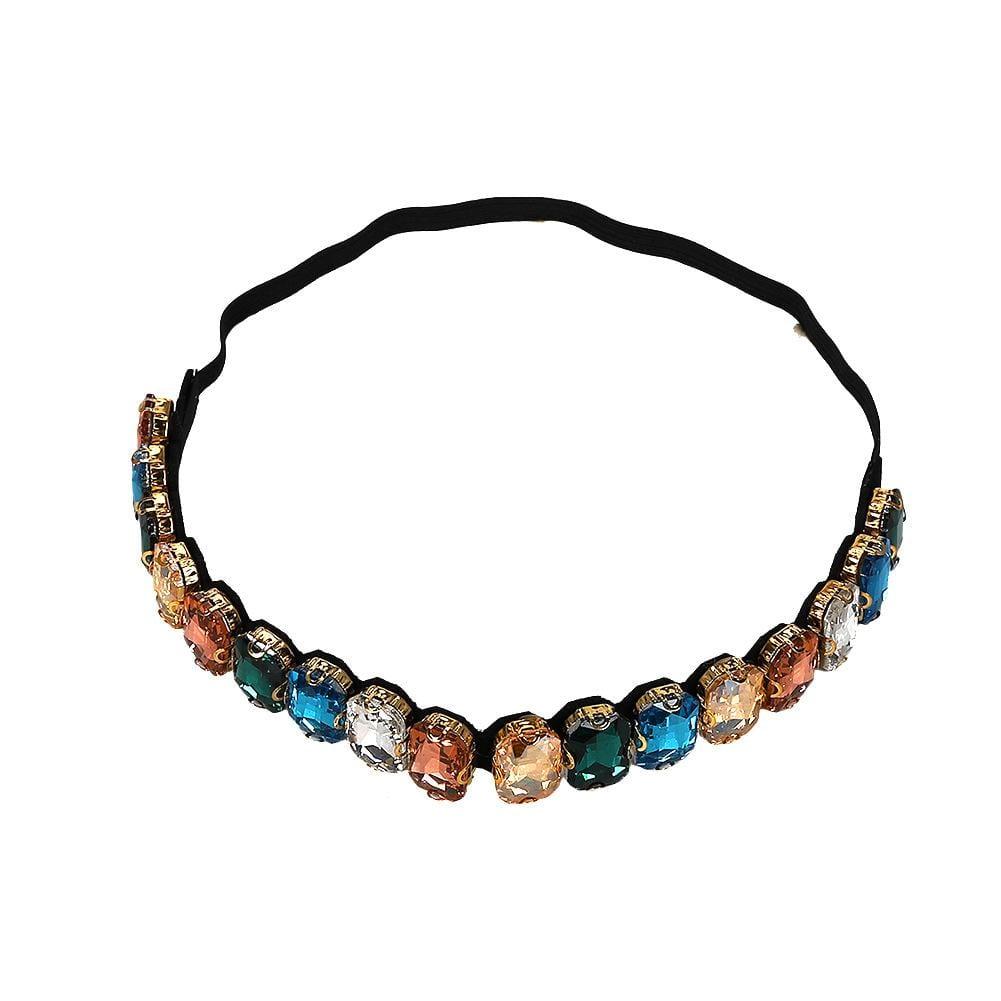 Fashion trend big gemstone rhinestone hair band with necklace