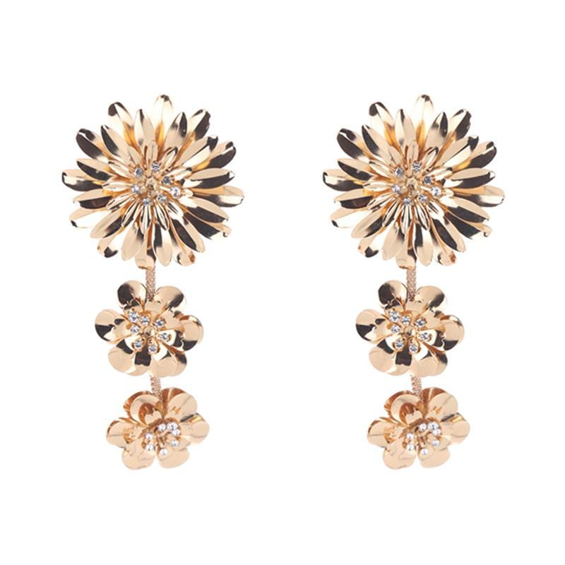 Exaggerated Big Flower Rhinestone Alloy Earrings
