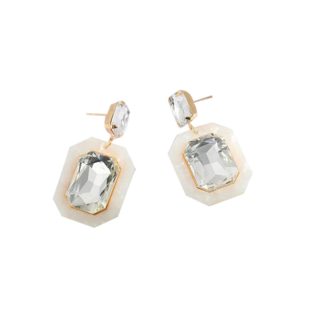 Temperament Versatile Geometric Acrylic Retro Square with Diamond Earrings