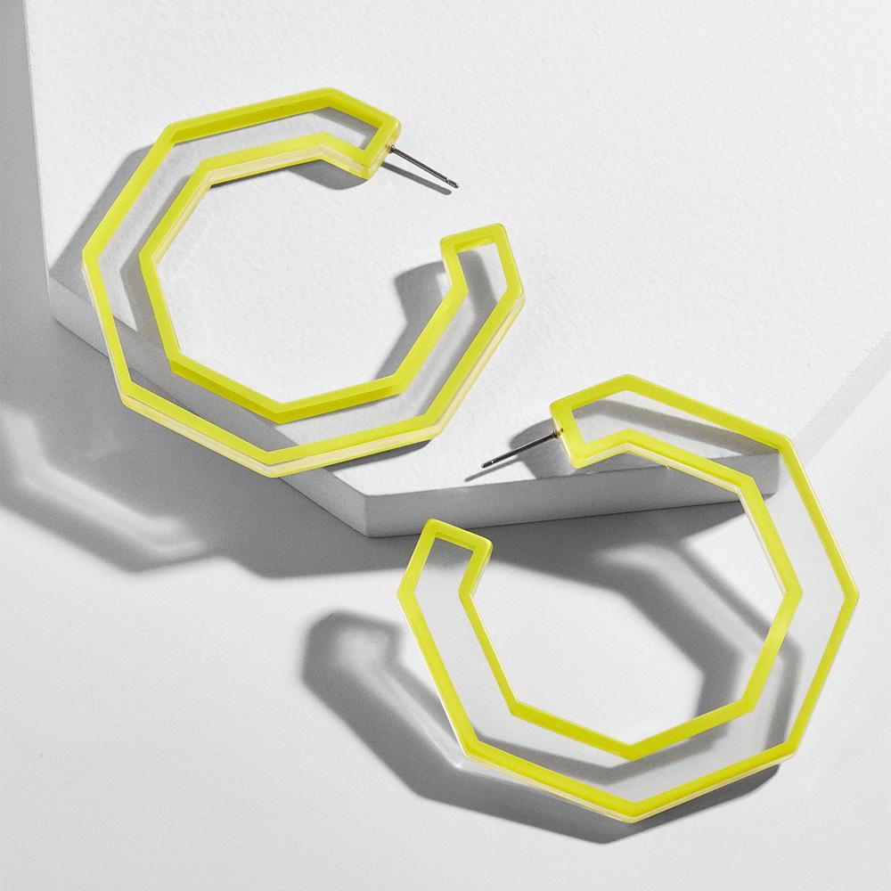 Creative Acrylic Geometric Plate Transparent Stroke Open Earrings