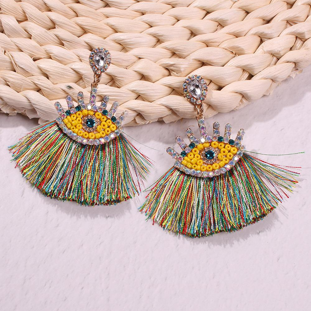 Geometric Alloy Imitation Diamond Tassel Earrings