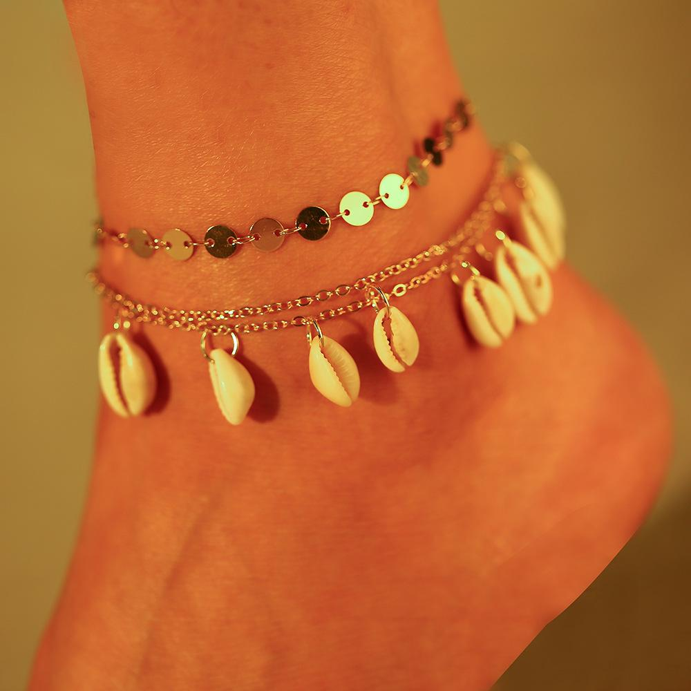 Geometric Plating Cord Beads Shell Alloy Ankle Bracelet
