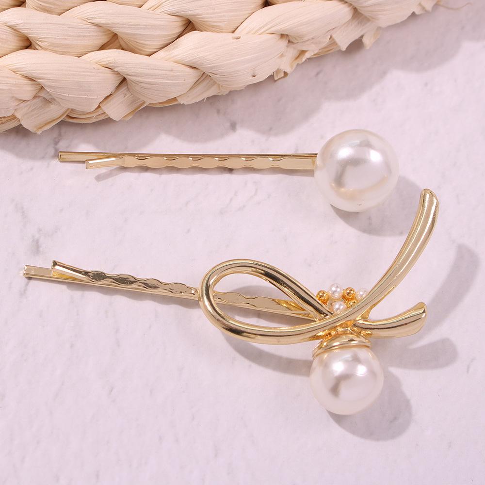 Pearl Geometric Irregular Bow Hair Clip