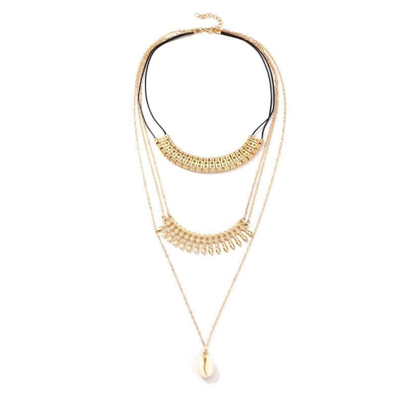Fashion ethnic style alloy fringed shell necklace