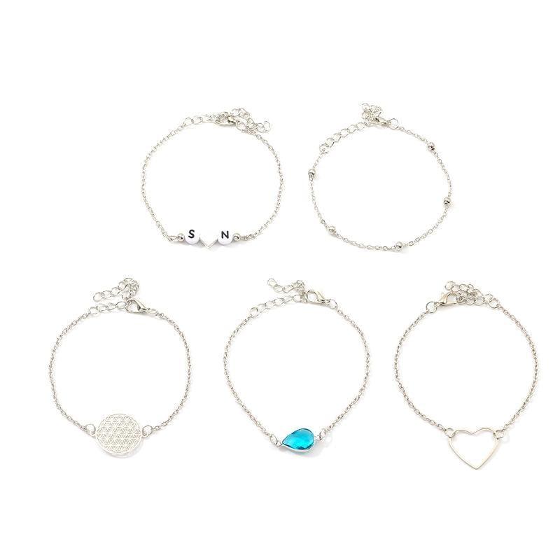 Creative fashion letters acrylic beads shell bracelet 5 piece set