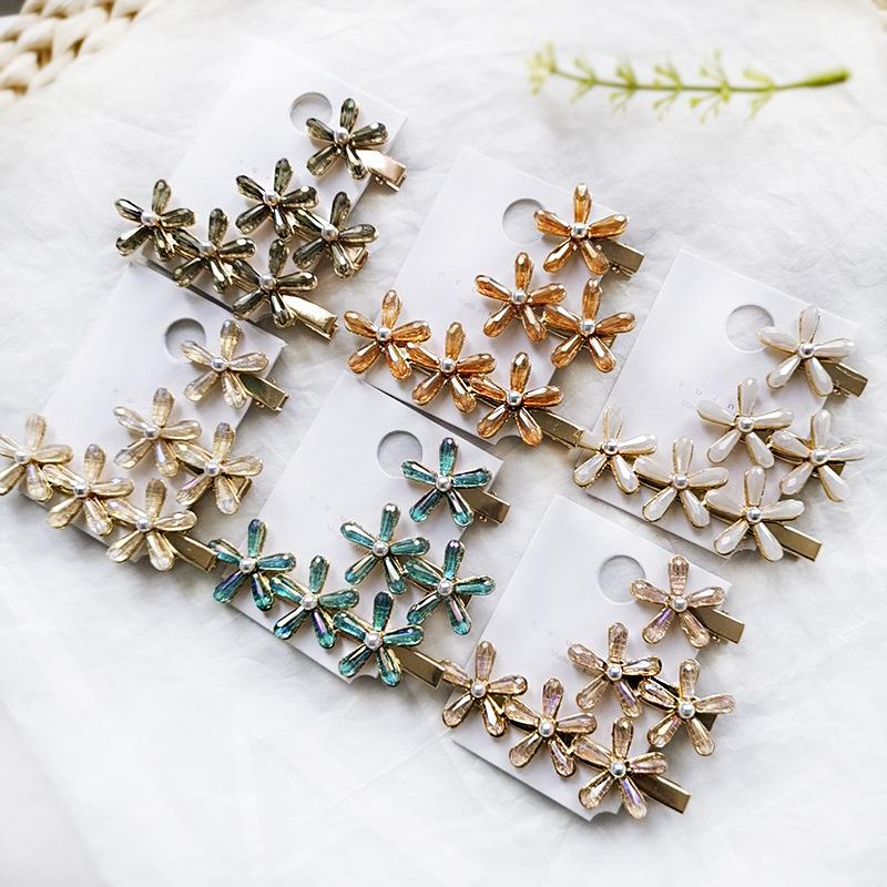 Fashion Long And Short Pearl Flower Hair Clip