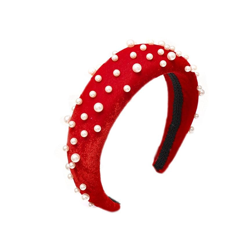 Fashion Ins wind sponge thick velvet nail pearl headband