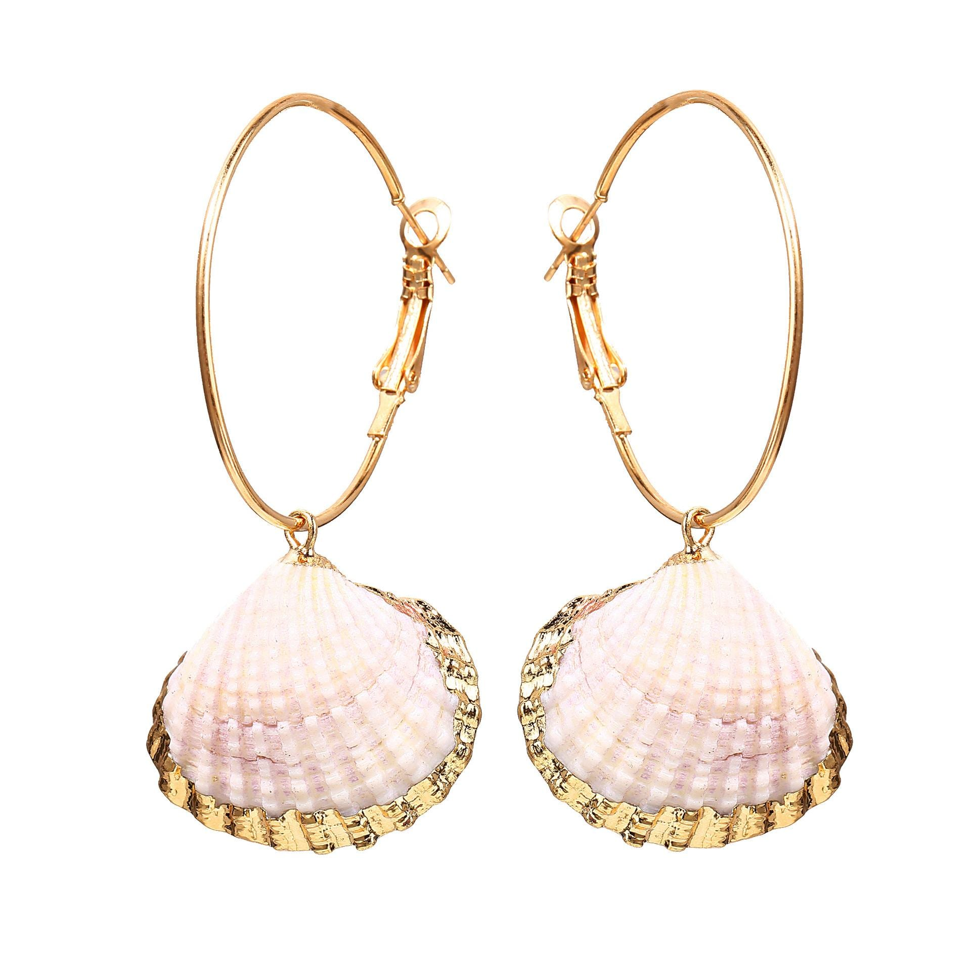 Creative Retro Circle Inlaid Gold Scallop Earrings