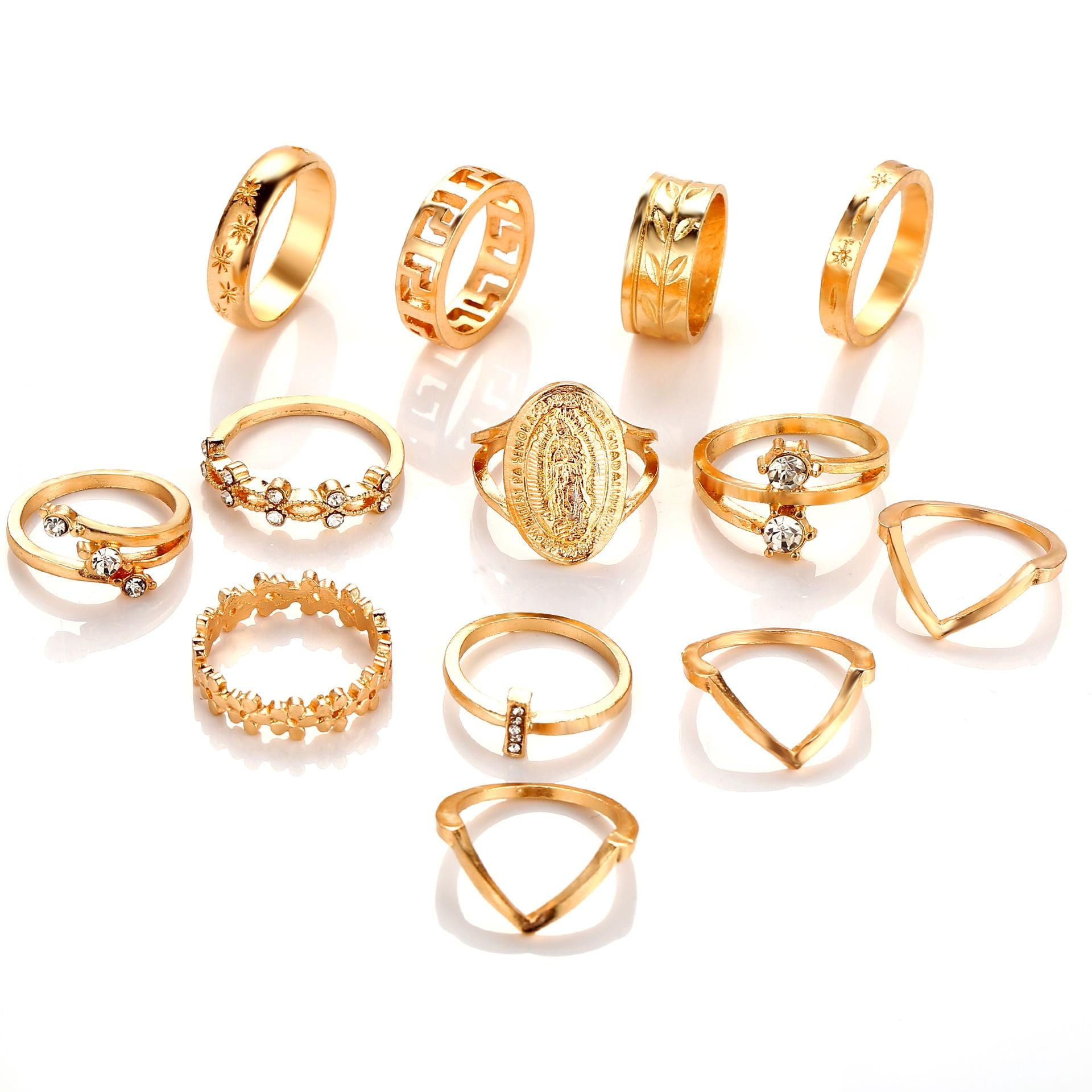 Creative Vintage English Letters Virgin Diamond Ring Set