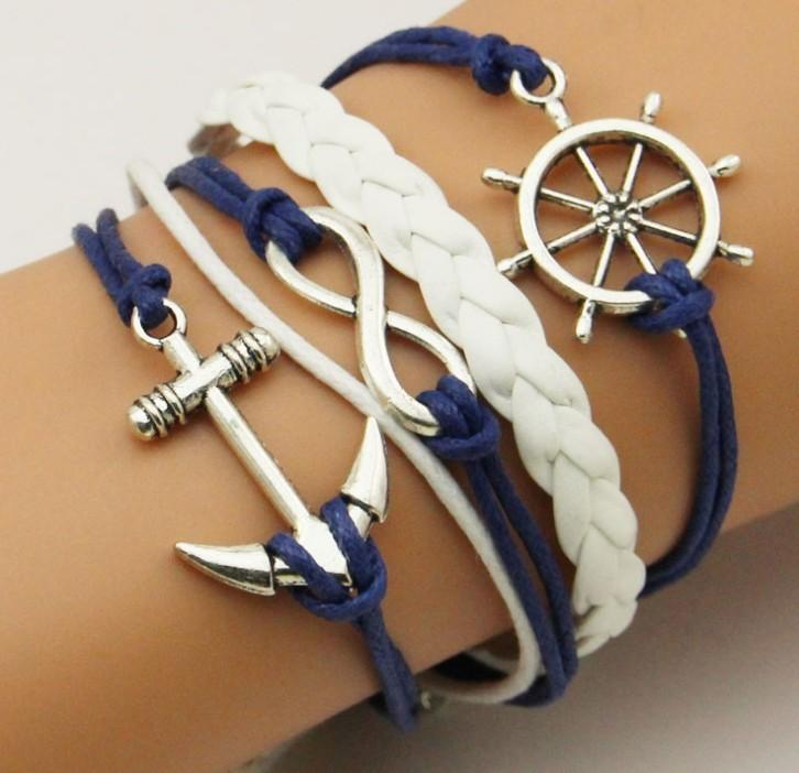Ancient Silver Anchor Rudder Infinity Multi-Layer Bracelet