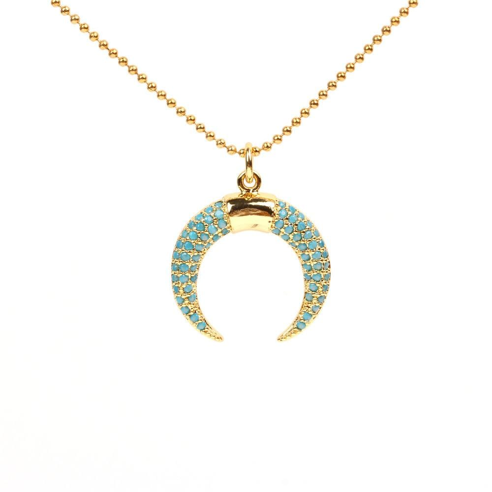 Unisex U-shaped Diamond Titanium Steel Necklaces