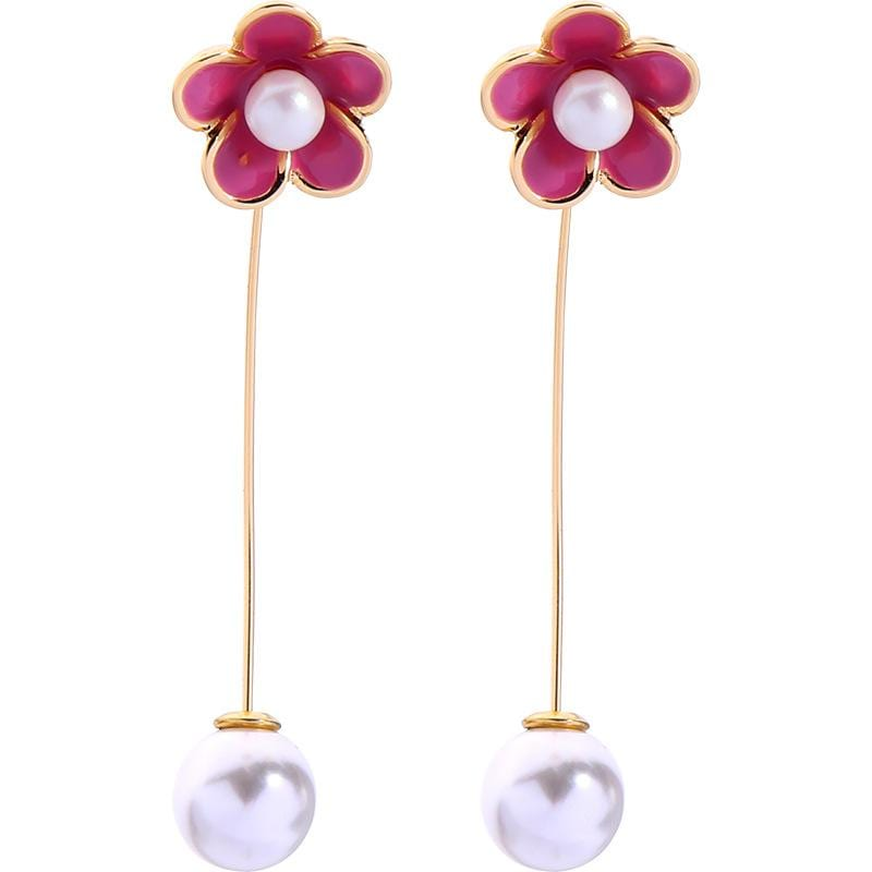Simple and small fresh oil flower pearl earrings