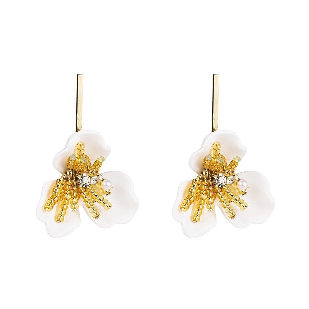 Fashion Petal Spray Crystal 925 Silver Needle Alloy Earrings