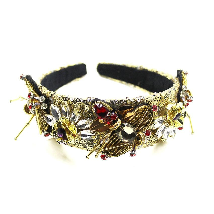 Fashion Golden Bee with Diamond Gemstone Geometric Headband