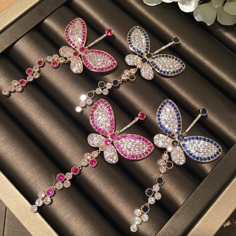 S925 Silver Needle Color Big Butterfly Micro Zircon Earrings