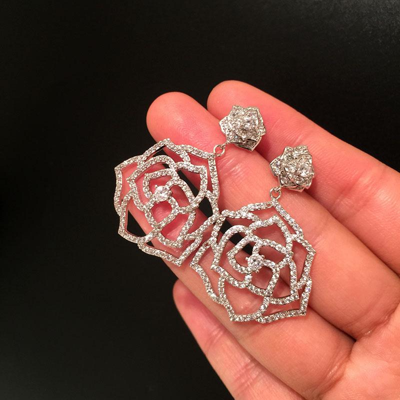 S925 Silver Camellia Earrings