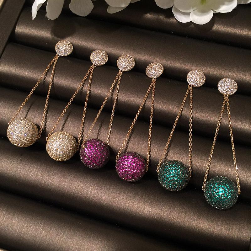 Colored Ball Micro-Inlaid Zircon Earrings