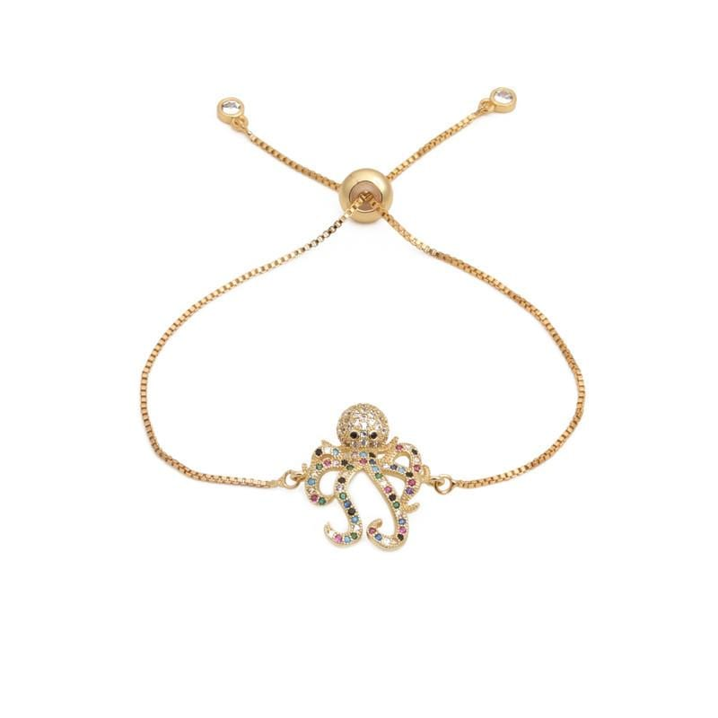 New micro-inlaid zircon octopus draw bracelet