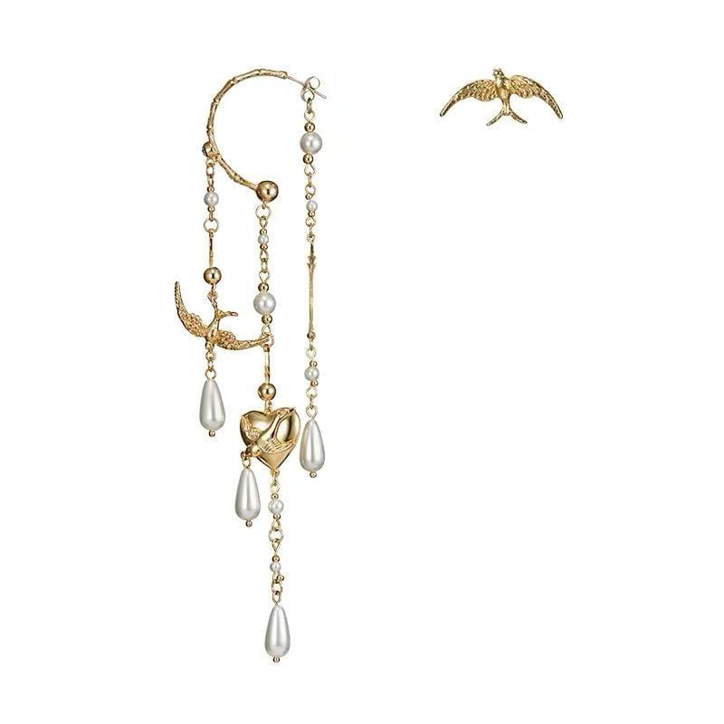 Vintage Style Multi-Layer Chain Long Tassel Pearl Earrings