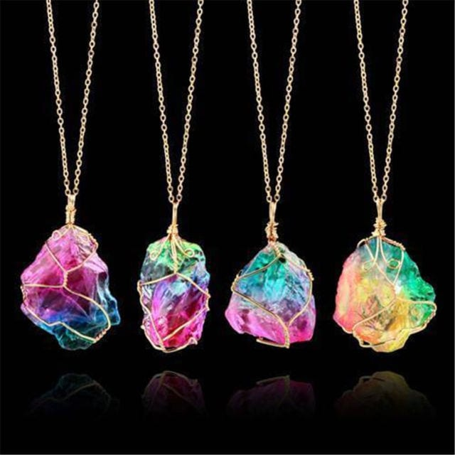 Rainbow stone crystal necklace.