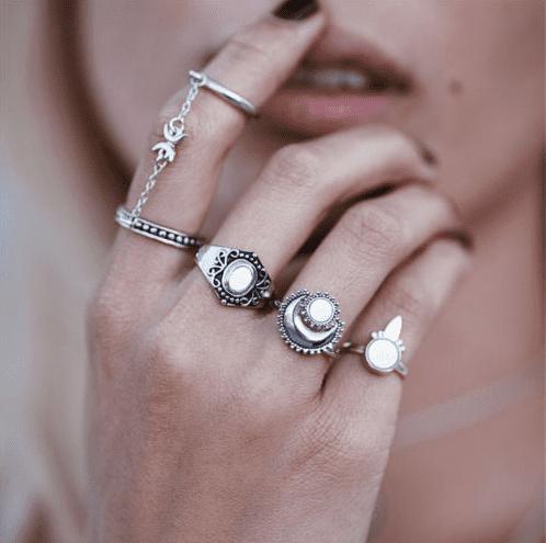 Boho style rings.