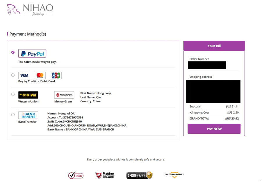 Payment page.