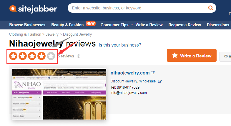 Sitejabber reviews of Nihaojewelry.