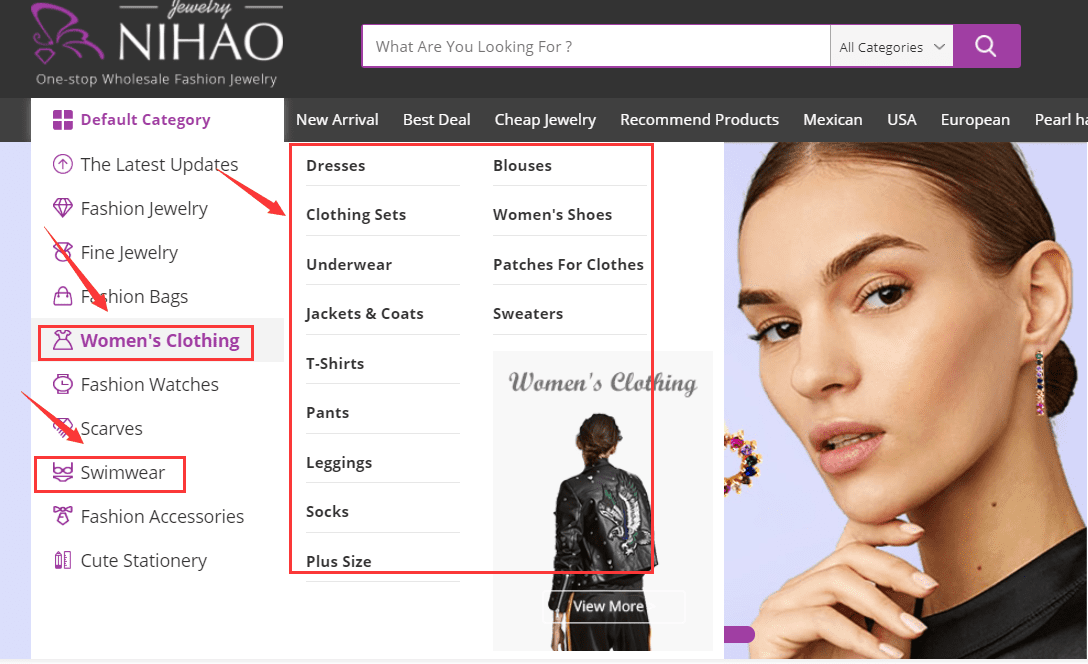 Nihaojewelry's clothing category.