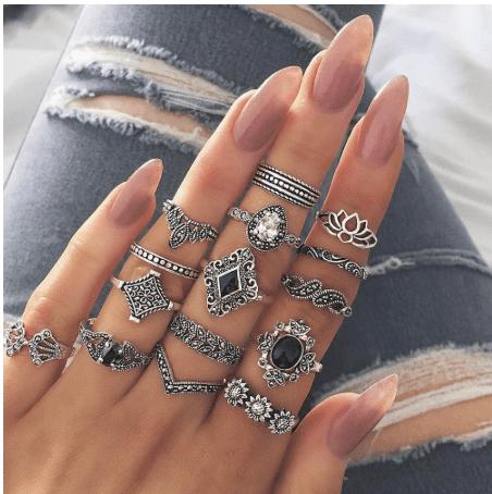 Bohemian retro rings.