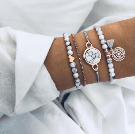 Crystal marble bracelets.