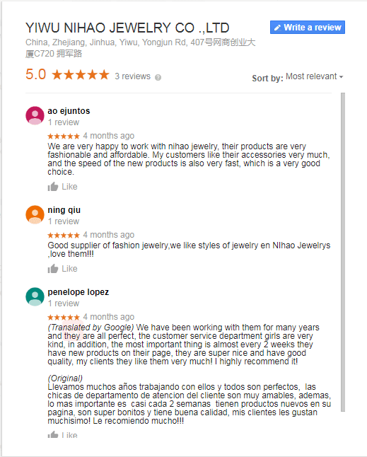 .Google reviews of Nihaojewelry,